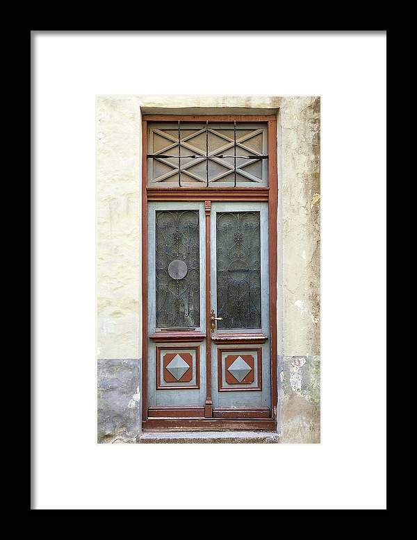 Rectangle Framed Print featuring the photograph Wooden Door With Glass And Decoration by Eugenesergeev
