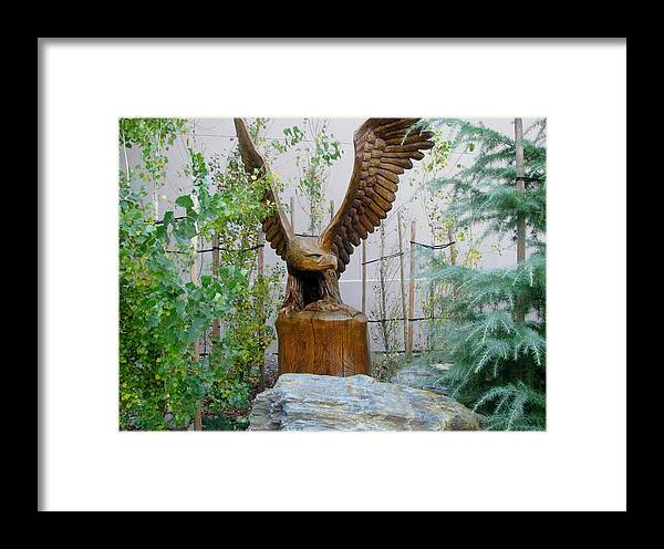 Eagle Sculpture Wood Trees Landscape Framed Print featuring the photograph Wooden Eagle by Susan Ince