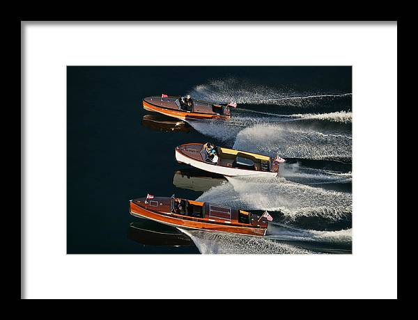 Aerial Framed Print featuring the photograph Wooden Runabouts On Lake Tahoe by Steven Lapkin