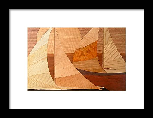Water Framed Print featuring the painting Wooden Ships by Kenneth Taber