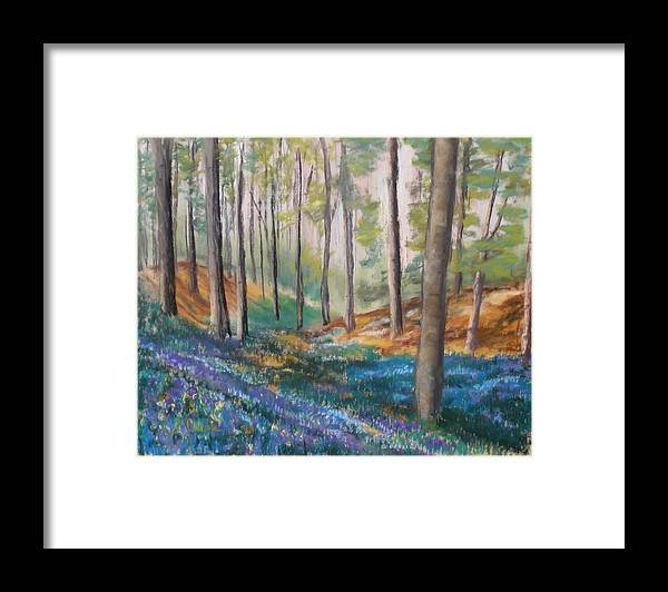 Landscape Framed Print featuring the painting Woodland Blues by Cathy Weaver