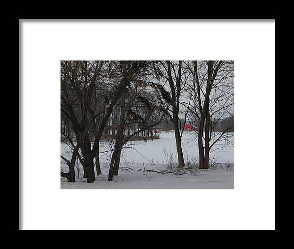 Winter Framed Print featuring the photograph Woodland Farm in Winter by Helen ONeal