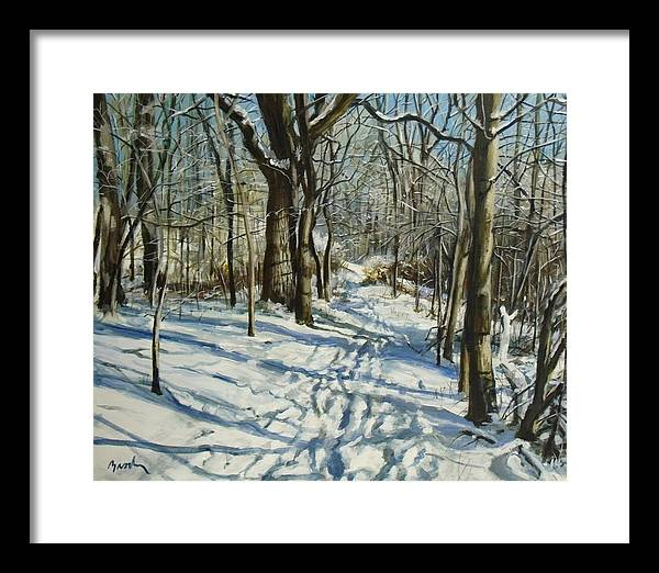 Winter Framed Print featuring the painting Woodland Journey by William Brody