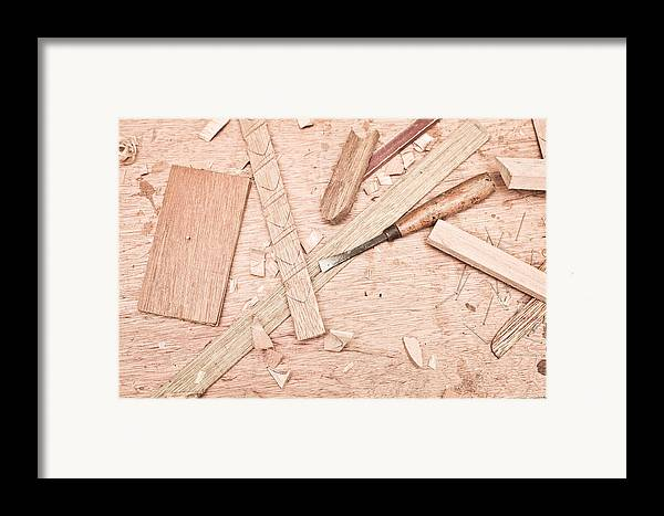 Background Framed Print featuring the photograph Woodwork by Tom Gowanlock