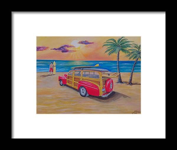 Seascape Framed Print featuring the painting Woody on the beach by Jim Reale