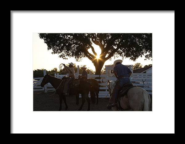 George Ranch Framed Print featuring the photograph Working Cowboys by Matt Johnson
