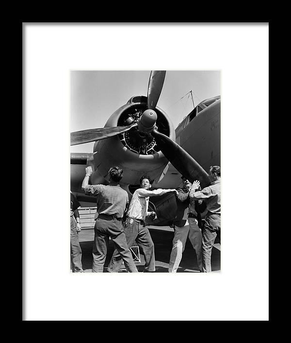Lockheed Pv-1 Ventura Vega Aircraft World War United States Air Force Navy Propeller Spin Spinning Workman Workmen Bomber Army Photograph 1942 Framed Print featuring the photograph Workmen Spin Propeller Pv-1 by Steve K