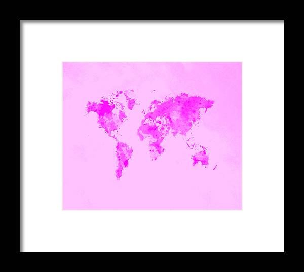 World Framed Print featuring the digital art World Map 1n by Brian Reaves