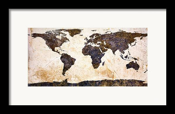 Earth Framed Print featuring the painting World Map Abstract by Bob Orsillo