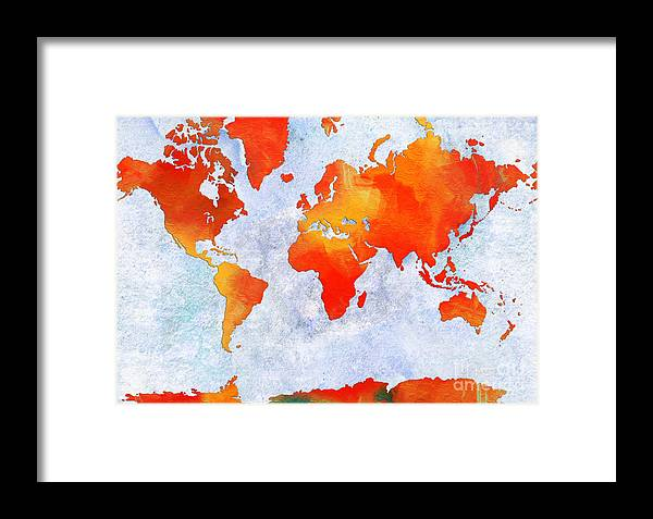 Abstract Framed Print featuring the digital art World Map - Citrus Passion - Abstract - Digital Painting 2 by Andee Design