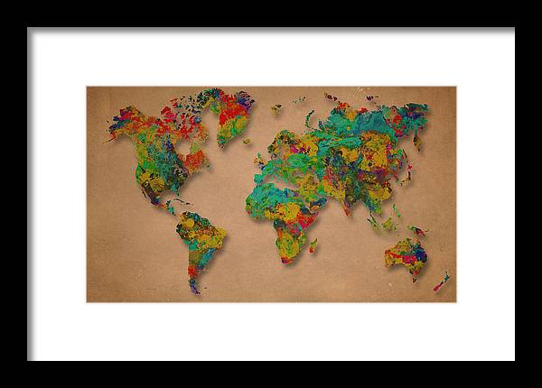World Map Framed Print featuring the digital art World Map Digital Watercolor Painting by Costinel Floricel