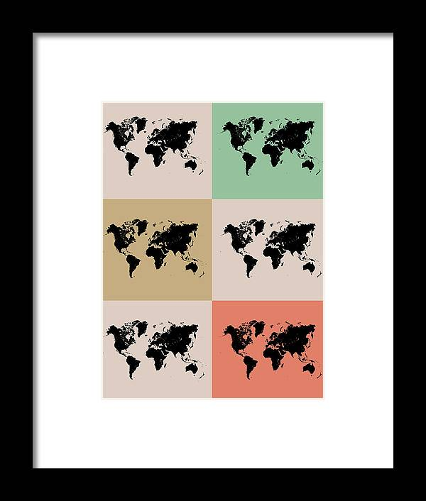 Framed Print featuring the digital art World Map Grid Poster 2 by Naxart Studio