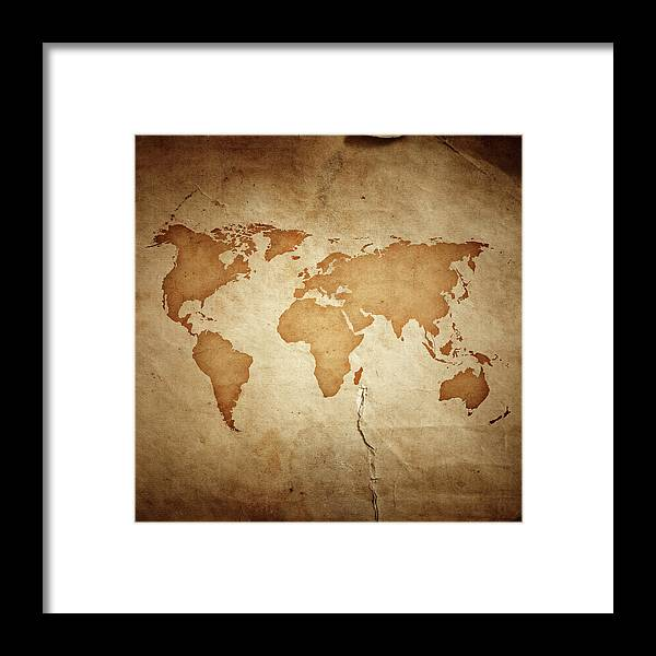 East Framed Print featuring the photograph World Map On Aged Paper Texture by Sankai