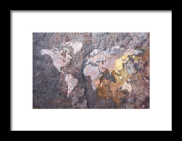 World map on stone background framed print by michael tompsett world map framed print featuring the digital art world map on stone background by michael tompsett gumiabroncs Gallery