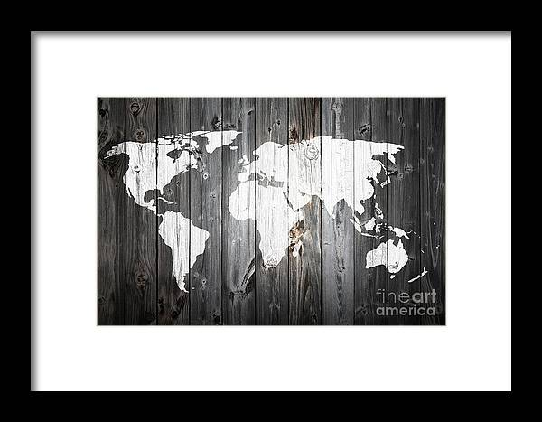 World Map Painted Barn Wood Framed Print