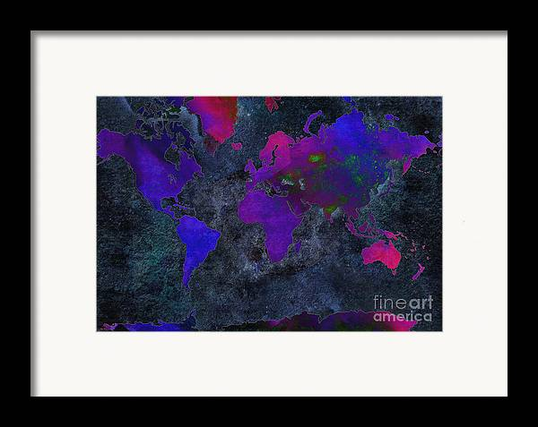 Andee Design Map Framed Print featuring the digital art World Map - Purple Flip The Dark Night - Abstract - Digital Painting 2 by Andee Design