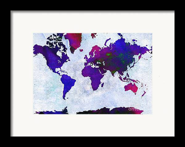 Abstract Framed Print featuring the digital art World Map - Purple Flip The Light Of Day - Abstract - Digital Painting 2 by Andee Design