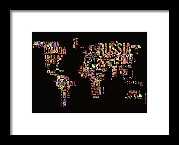 World map typography watercolor painting framed print by georgeta world map framed print featuring the painting world map typography watercolor painting by georgeta blanaru gumiabroncs Images