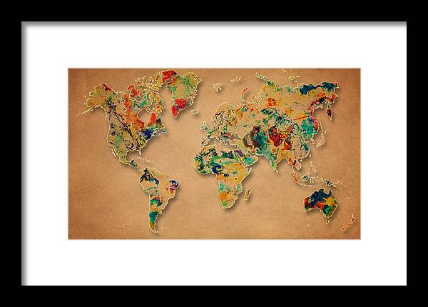 World Map Framed Print featuring the painting World Map Watercolor Painting 2 by Georgeta Blanaru