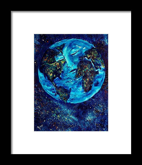 World Framed Print featuring the painting World Peace by Robin Monroe
