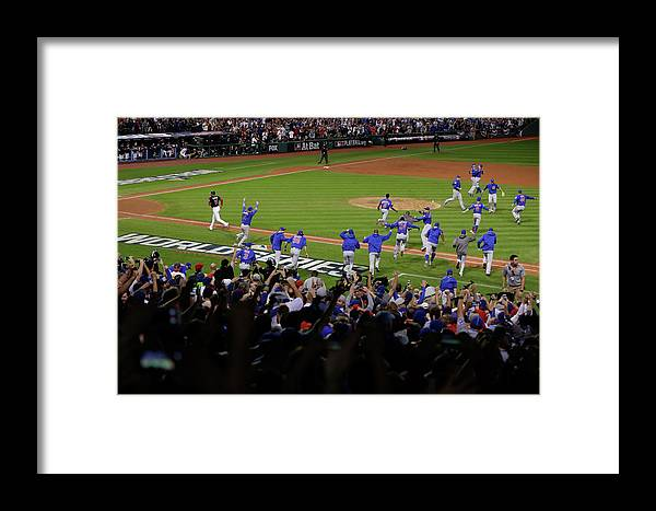 American League Baseball Framed Print featuring the photograph World Series - Chicago Cubs V Cleveland by Jamie Squire