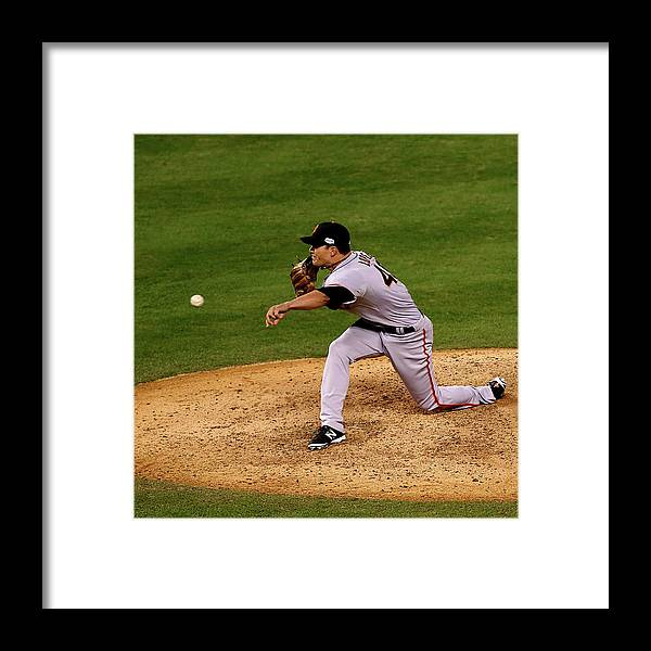 Javier López Framed Print featuring the photograph World Series - San Francisco Giants V by Ed Zurga