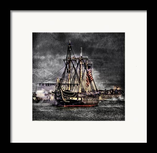 Boston Massachusetts Framed Print featuring the photograph World's Oldest Commissioned Warship Afloat - Uss Constitution by Ludmila Nayvelt