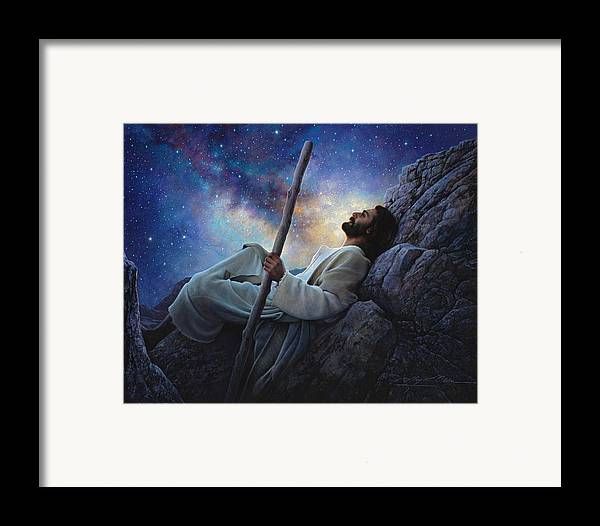 Jesus Framed Print featuring the painting Worlds Without End by Greg Olsen