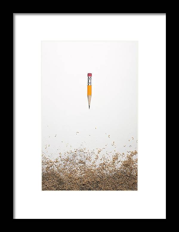 White Background Framed Print featuring the photograph Worn Down Pencil With Shaving by Chris Parsons