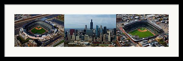 White Sox Framed Print featuring the photograph Wrigley And Us Cellular Fields Chicago Baseball Parks 3 Panel Composite 01 by Thomas Woolworth