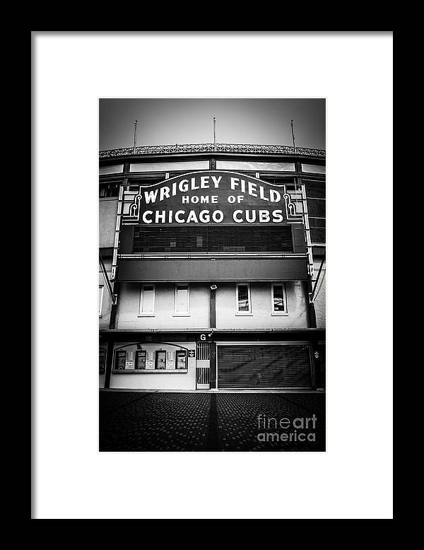 America Framed Print featuring the photograph Wrigley Field Chicago Cubs Sign in Black and White by Paul Velgos