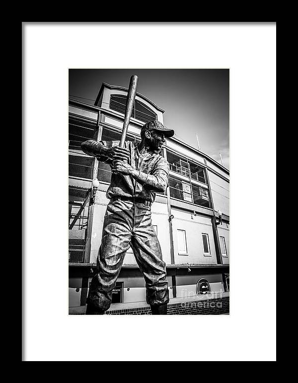 America Framed Print featuring the photograph Wrigley Field Ernie Banks Statue In Black And White by Paul Velgos