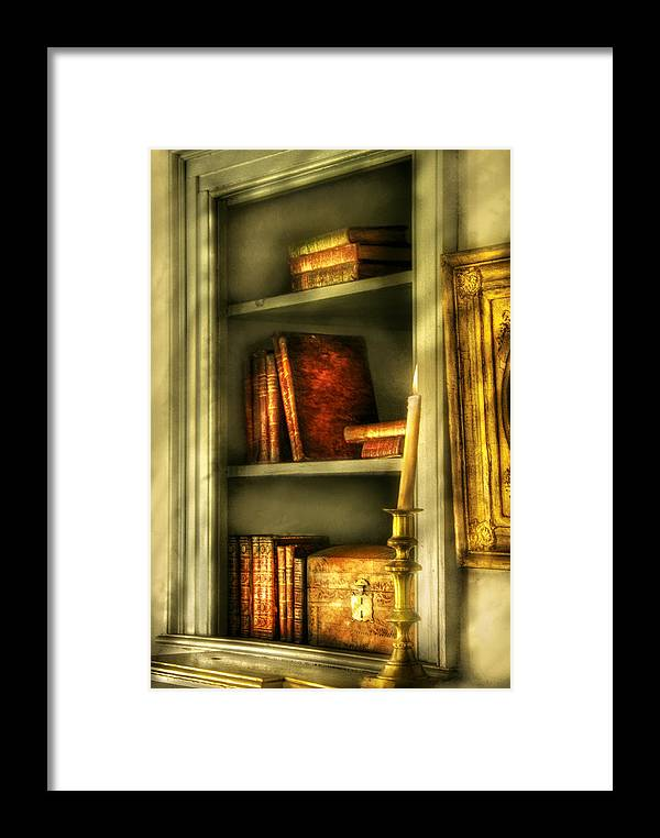 Savad Framed Print featuring the photograph Writer - In The Library by Mike Savad