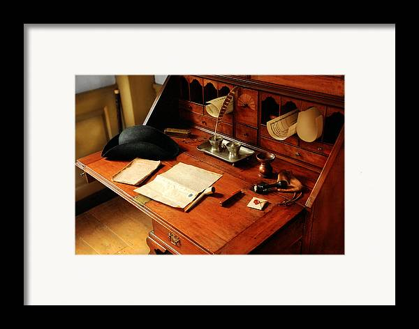 Savad Framed Print featuring the photograph Writer - The Desk Of A Gentleman by Mike Savad
