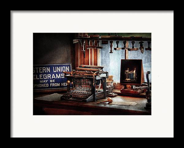 Hdr Framed Print featuring the photograph Writer - Typewriter - The Aspiring Writer by Mike Savad
