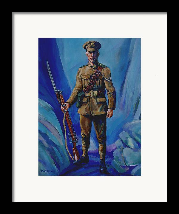 Soldier Framed Print featuring the painting Ww 1 Soldier by Derrick Higgins