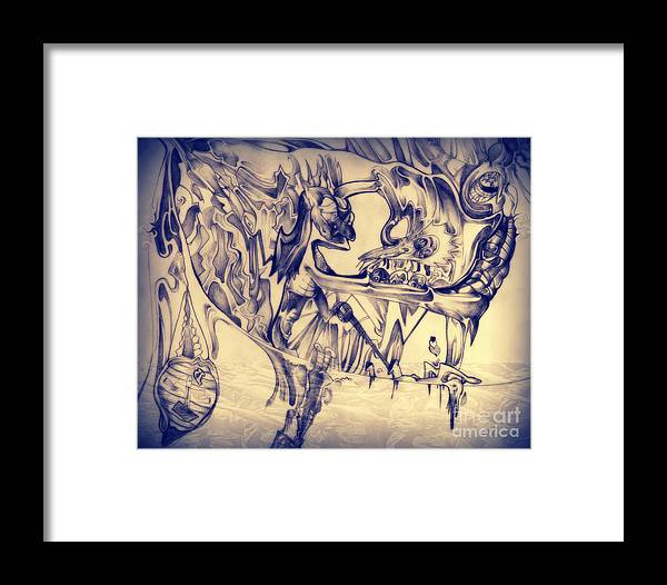 Abstract Framed Print featuring the drawing WW3 by Daniel Brummitt