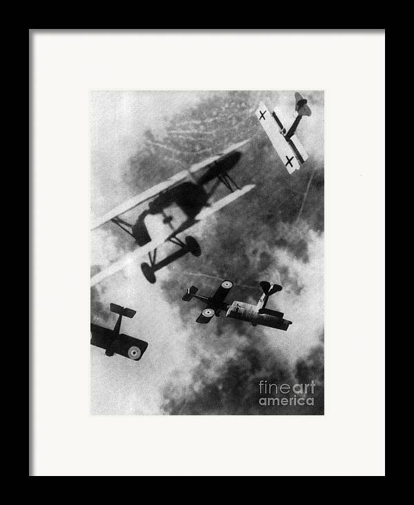 Technology Framed Print featuring the photograph Wwi German British Dogfight by Nypl