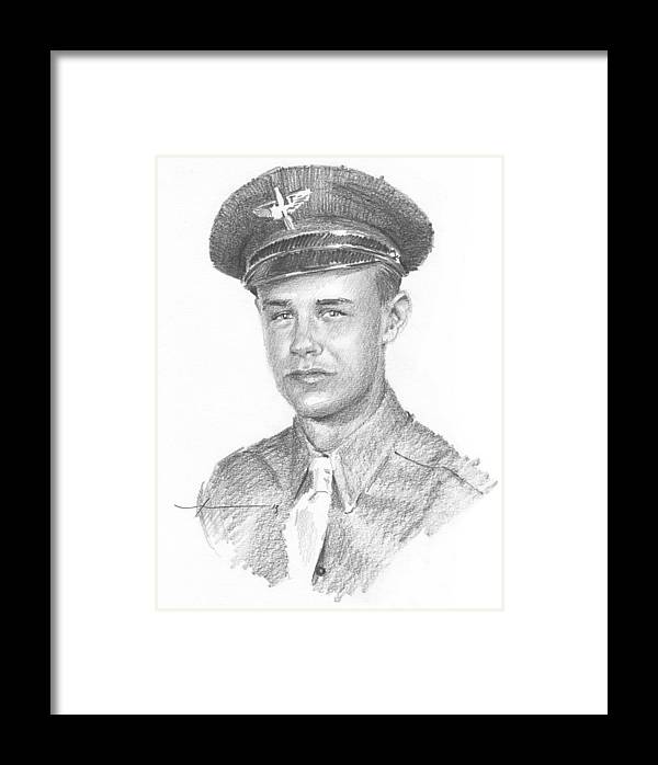 Www.miketheuer.com Wwii Military Dad Pencil Portrait Framed Print featuring the drawing Wwii Military Dad Pencil Portrait by Mike Theuer