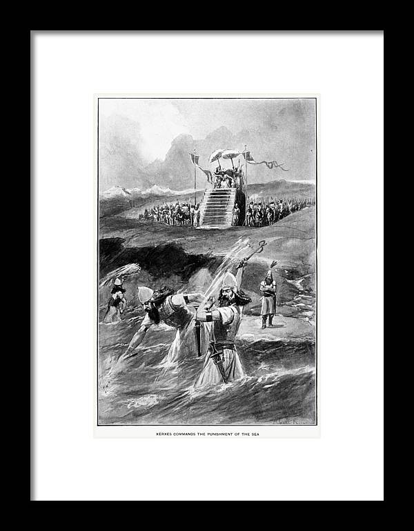 480 B.c Framed Print featuring the drawing Xerxes At Hellespont by Granger