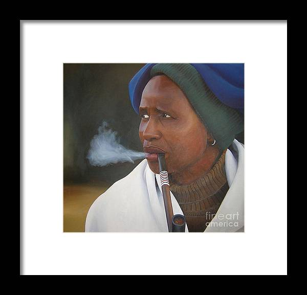 Portrait Framed Print featuring the painting Xhosa Woman by Edgar Pretorius