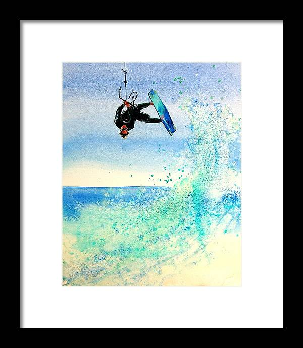 Kiteboarding Framed Print featuring the painting Xtreme Big Air by Lynee Sapere