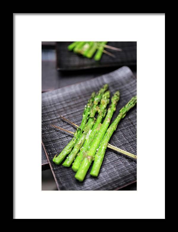 Serving Dish Framed Print featuring the photograph Yakitori Asparagus by Katya Lyukum