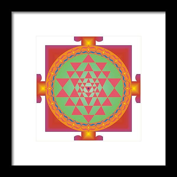 Mandalas Framed Print featuring the digital art Yantra by Andre Angermann