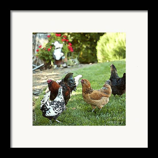 Rooster Art Framed Print featuring the painting Yard Party With The Chickens by Artist and Photographer Laura Wrede