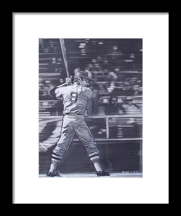 Charcoal On Paper Framed Print featuring the drawing Yaz - Carl Yastrzemski by Sean Connolly