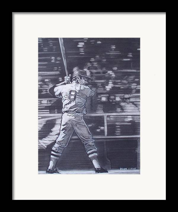 Charcoal Framed Print featuring the drawing Yaz - Carl Yastrzemski by Sean Connolly