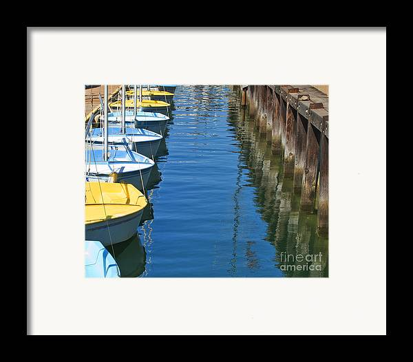My Ocean Book Framed Print featuring the photograph Yellow And Blue Sailboats From The Book My Ocean by Artist and Photographer Laura Wrede