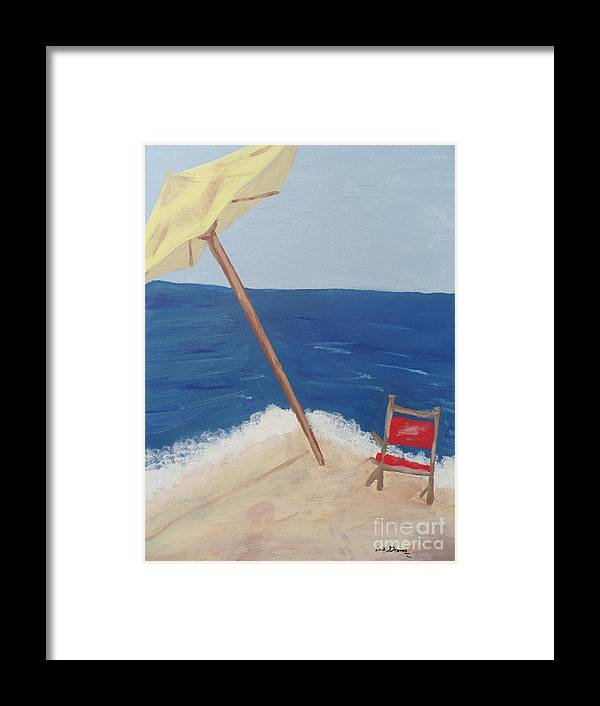 Beach Framed Print featuring the painting Yellow Beach Umbrella And Chair 3 by Bobbi Groves