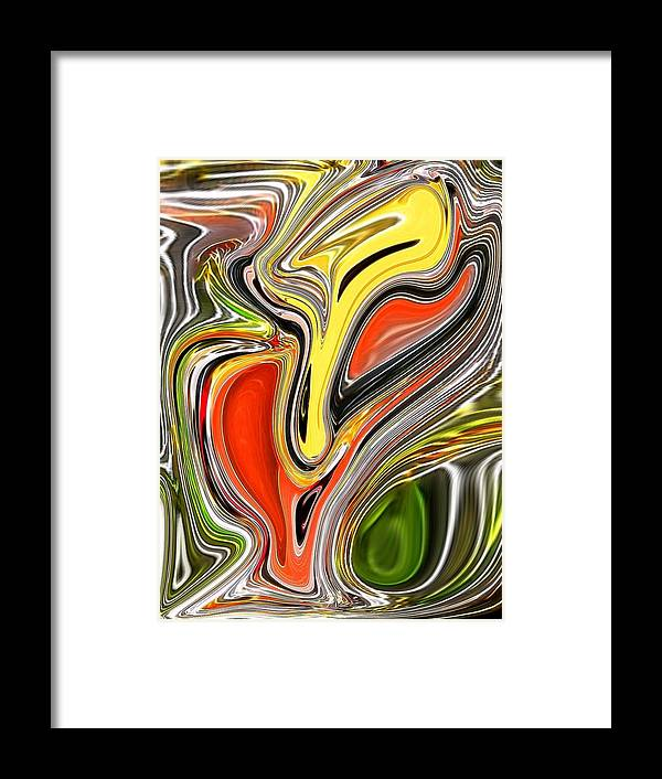 Framed Print featuring the digital art Yellow Bisect by Bob Riggs